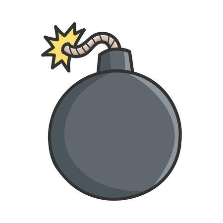 Black bomb design icon illustration isolated on white 向量圖像