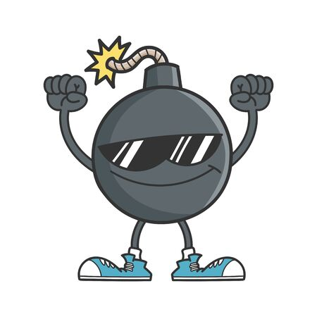 Cheering bomb character with sunglasses and arms in the air isolated on white background