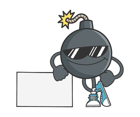 bomb cartoon character with sunglasses leaning on sign isolated on white background 矢量图像