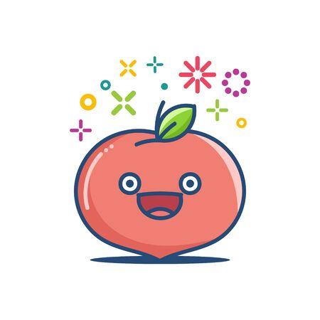 Peach  emoticon cartoon  isolated on white 向量圖像