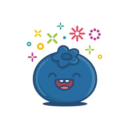 Blaubeere kawaii Emoticonkarikaturillustration lokalisiert auf Weiß on Vektorgrafik