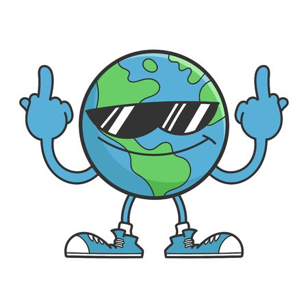 Planet earth cartoon character with sunglasses giving the middle fingers isolated on white background Çizim