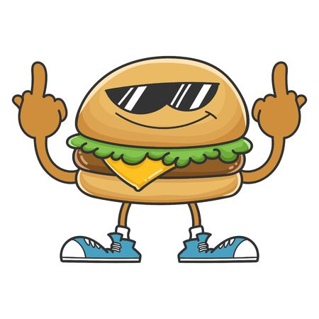 Hamburger cartoon character with sunglasses giving the middle fingers isolated on white background