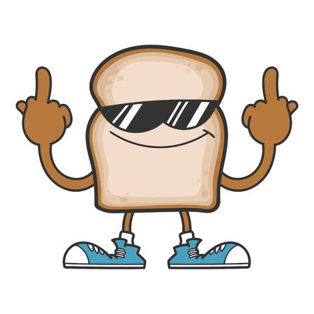 slice of bread cartoon character with sunglasses giving the middle fingers isolated on white Çizim
