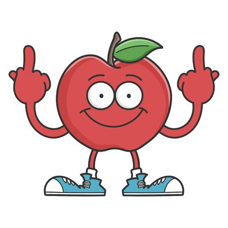 Red smiling apple cartoon character giving the middle fingers isolated on white Çizim