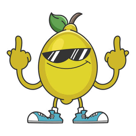 lemon with sunglasses cartoon giving the middle fingers isolated on white