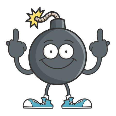 Happy smiling bomb cartoon giving the middle fingers isolated on white Vettoriali