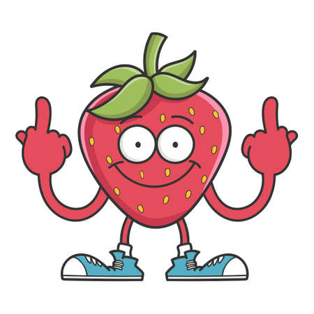 Strawberry cartoon giving the middle fingers isolated on white background