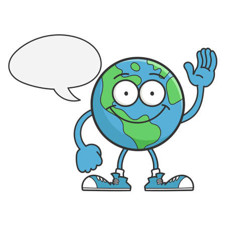 smiling happy planet earth cartoon character isolated on white