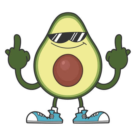 Avocado fruit cartoon with sunglasses giving the middle fingers isolated on white Vettoriali