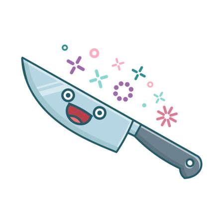 kawaii kitchen knife icon cartoon illustration isolated on white background Çizim