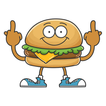 smiling happy cheese hamburger cartoon character isolated on white background Vettoriali