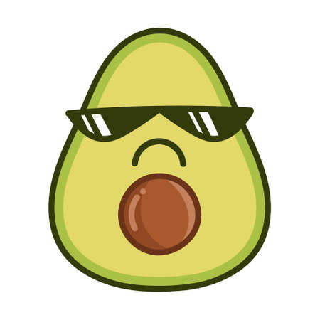 kawaii bad sunglasses avocado cartoon illustration isolated on white background