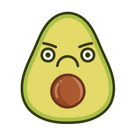 kawaii angry avocado cartoon illustration isolated on white background