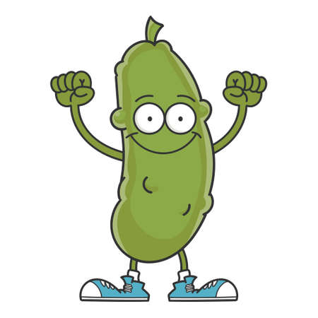happy smiling dill pickle cartoon character isolated on white background Vektorové ilustrace