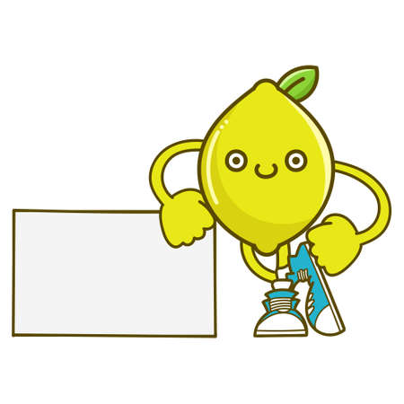 kawaii smiling lemon fruit with sneakers cartoon isolated on white background Vector Illustration