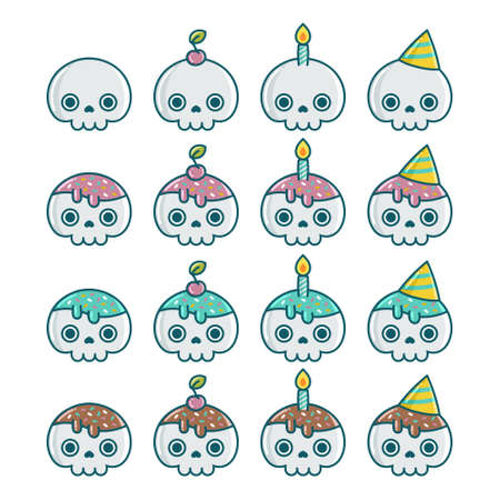 Set of birthday Halloween party skull element designs isolated on white background