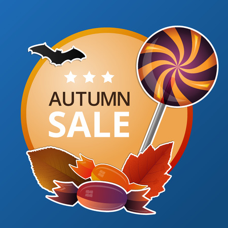 Vector autumn price label with  halloween theme Vector