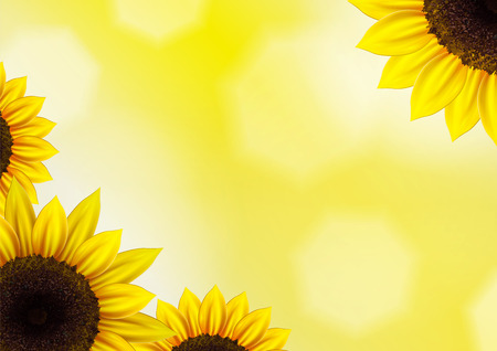 Zonnebloemen vector achtergrond voor beeld en tekst Stockfoto - 32486662