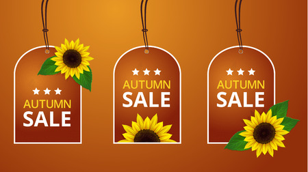 Vector sunflowers autumn price labels Vector