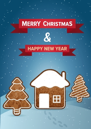 gingerbread house: Christmas vector wish card with gingerbread house and trees