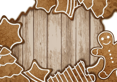 Christmas gingerbread picture and text frame vector illustration Vector
