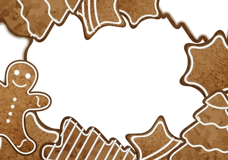 Christmas gingerbread picture and text frame vector illustration 向量圖像