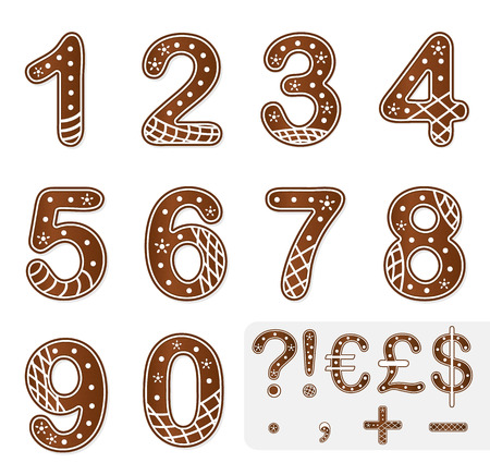 Gingerbread numbers christmas decoration vector illustration Vector
