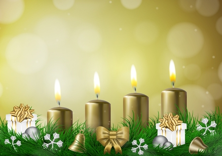 advent candles: Christmas background with candles and empty space vector illustration