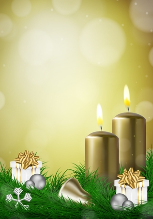Christmas background with candles and empty space vector illustration