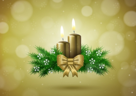 Christmas wish card with candles in gold vector illustration