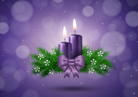 Christmas wish card  with candles  in purple vector illustration 일러스트