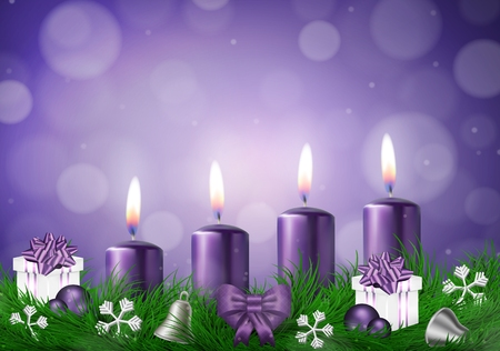 Christmas wish card with candles in purple vector illustration
