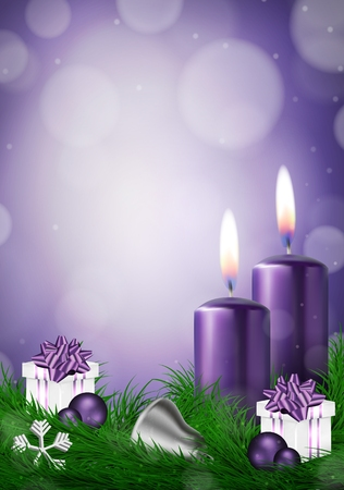 Christmas background with candles and empty space in purple vector illustration