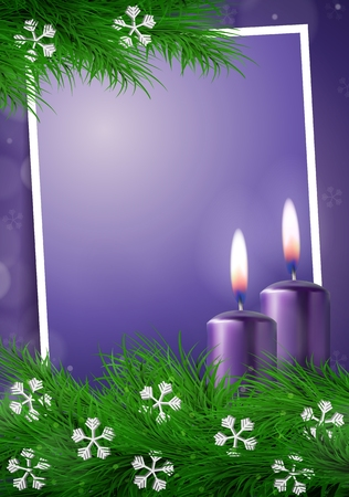Christmas background with frame and empty space in purple vector illustration