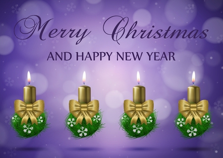 Christmas wish card with candles in gold nad purple vector illustration