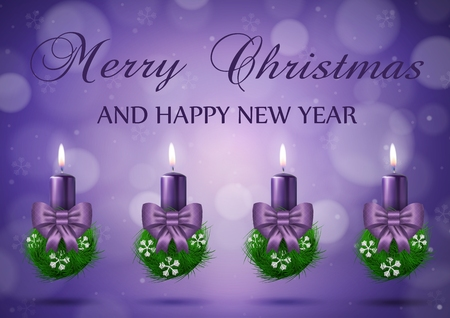 Christmas wish card  with candles  in purple vector illustration Vector
