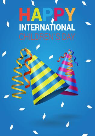 childrens day: International children`s day vector wish card