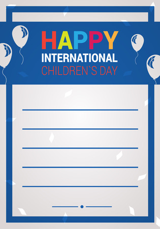 baby playing toy: International children`s day vector wish card