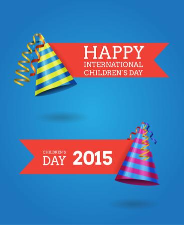 childrens day: International children`s day vector labels