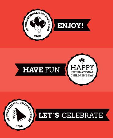 childrens day: International children`s day ribbons vector flat design