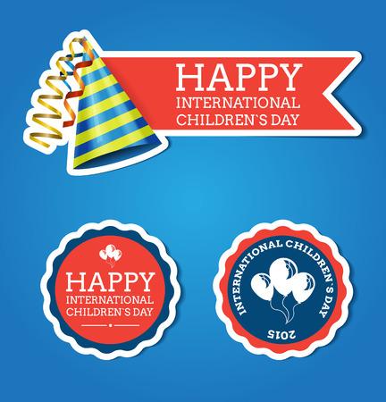 baby playing toy: International children`s day label vector flat design Illustration