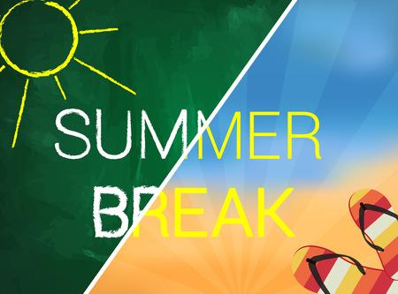 summer break: Summer break written text on green chalkboard