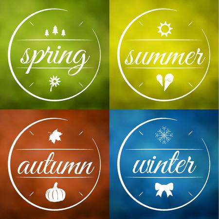 illustraiton: Four seasons labels illustraiton collection Illustration