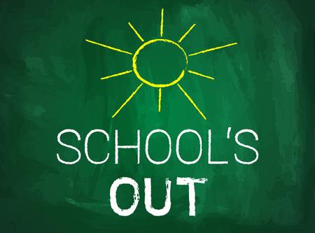 School's out written text on green chalkboard 向量圖像