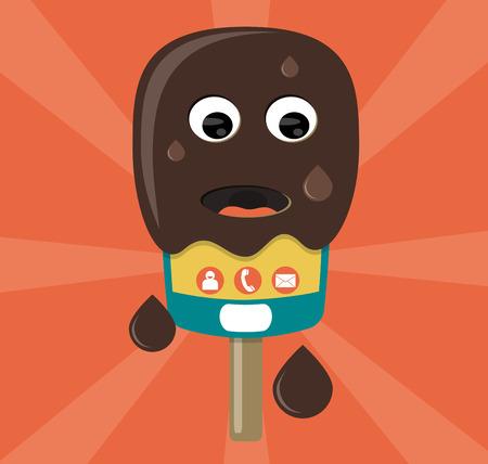 melt: Technology in hot temperature smartphone ice cream melting during summer Illustration