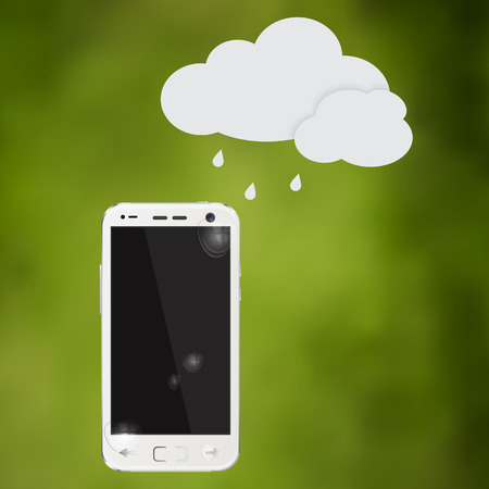 waterproof cell phone with water drops and cloud Illustration Illustration