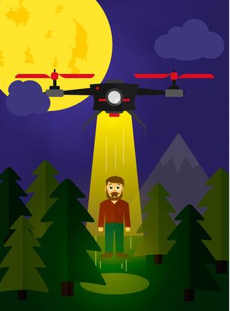 Vliegende drone ontvoering van een mens in de forrest platte stijl Stock Illustratie