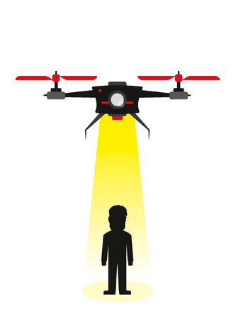 abducted: Flying drone kidnapping a human being in flat style