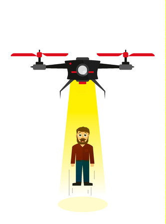 ser humano: Flying drone kidnapping a human being in flat style